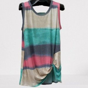 TIE DYE Tank with Side Twist Knot Yellow Green 1X
